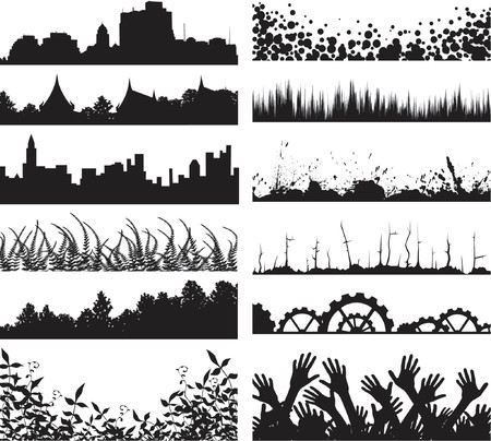 Selection of vector foreground silhouettes and skylines Stock Vector - 979549