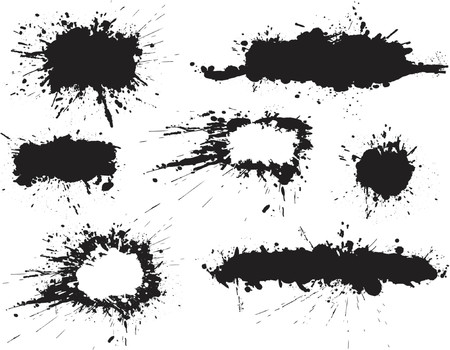 Set of ink spill grunge text banners