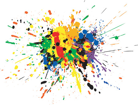 paint splat: Vector design of colorful paint spill grunge