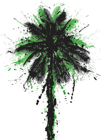 grunged: Vector illustration of a grunged coconut palm tree