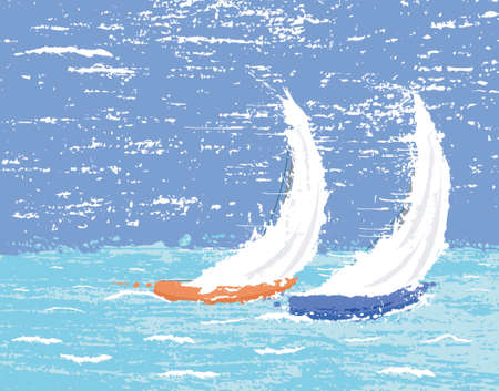 Vector illustration of two racing yachts with grunge Vector