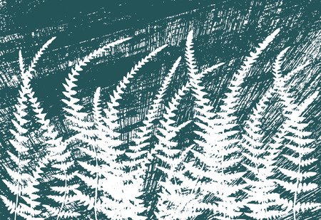 untidy: Vector background of ferns and grunge Illustration