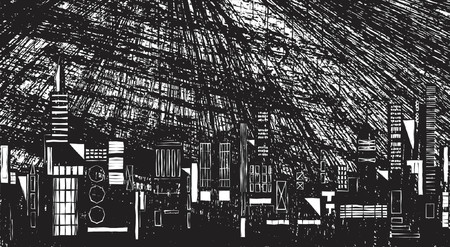 downpour: Vector illustration of a city skyline at night with grunge Illustration