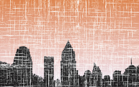 towerblock: Detailed vector illustration of a city skyline with grunge Illustration