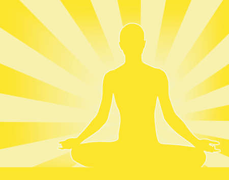 mindful: Abstract vector illustration of person meditating Buddha-esque Illustration