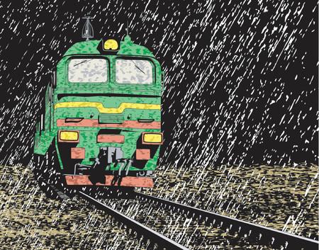 drench: Vector ilustración de un tren ruso en lluvia por la noche  Vectores