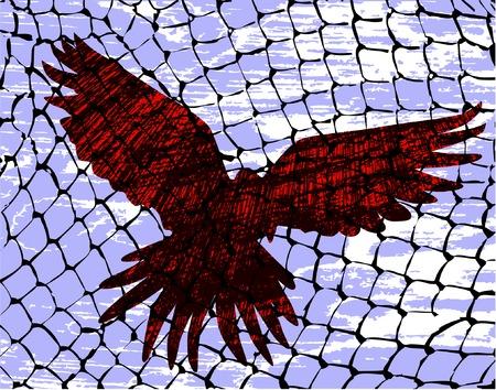Vector illustration of a bird caught in a net Vector