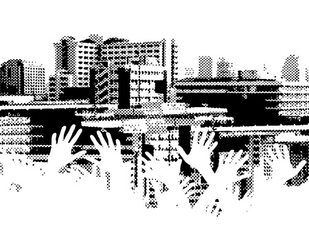 jumble: Vector halftone design of a city skyline with out-stretched hands