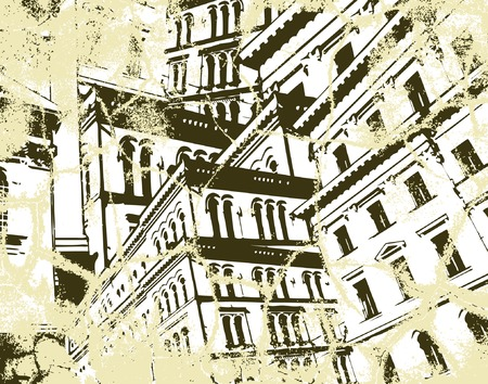 Background vector illustration of high buildings and grunge Illustration