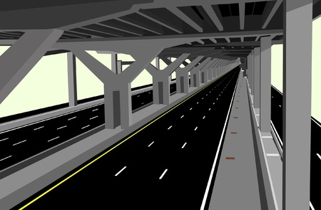 intercity: Vector illustration of a carless highway and concrete