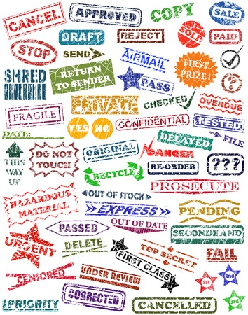 phrases: Selection of vector rubber stamps with grunge Illustration