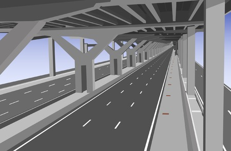 intercity: Vector illustration of a carless highway lower level
