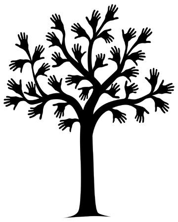 Vector illustration of a tree outline with hands for leaves
