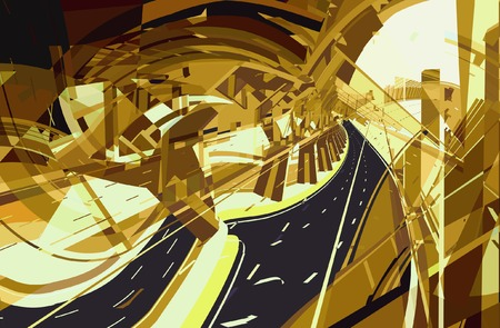 tollway: Vector illustration of an abstract highway construction Illustration