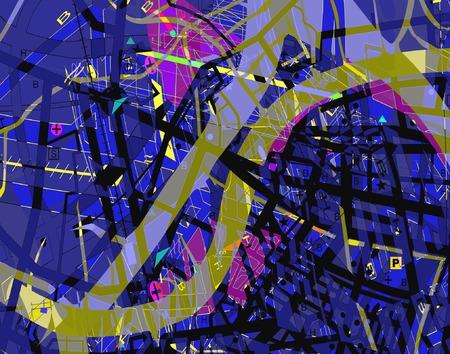 Abstract vector design of a confusing streetmap  Vector