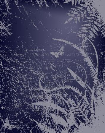 grass verge: Vettore sfondo di un ambiente naturale grungy di notte