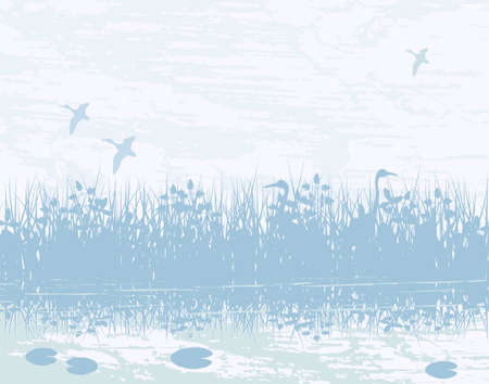 Vector illustration of birds in a natural wetland Stock Vector - 1536218