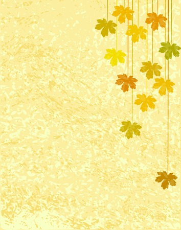 Editable vector design of maple leaves with background grunge as a separate element