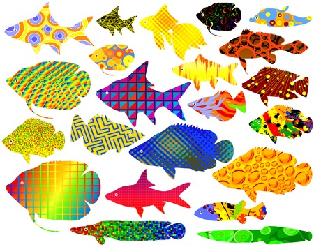 Selection of vector tropical fish with abstract patterns Stock Vector - 1638564