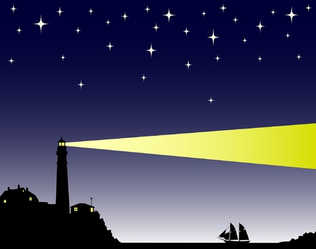 homecoming: Vector illustration of a lighthouse in the evening