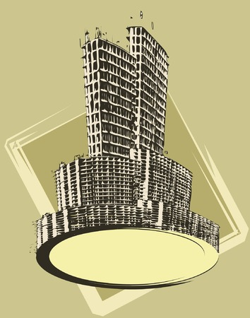 towerblock: Vector illustration of a text banner with urban buildings Illustration