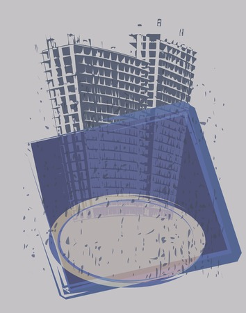 towerblock: Editable vector illustration of a tower-block and banner