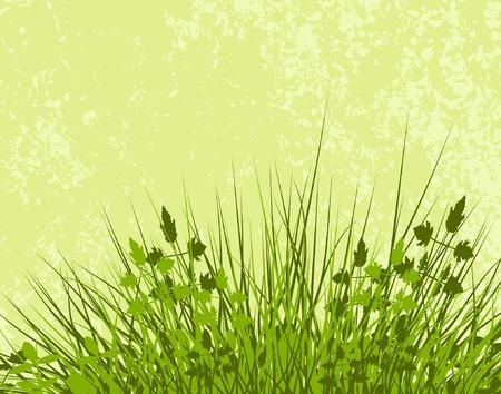 hillock: Ilustraci�n editable del vector de la vegetaci�n herbosa con el grunge y de la vegetaci�n como capas separadas Vectores