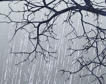 dismal: Editable vector illustration of bare branches in winter weather