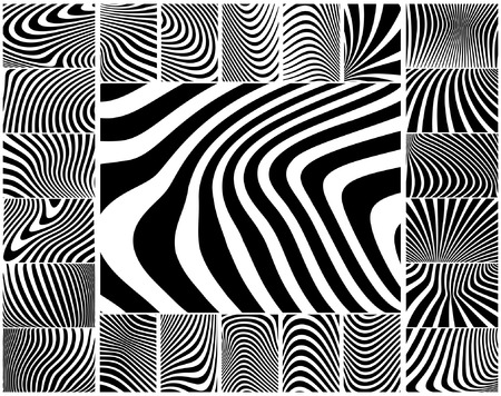 Collection of wavy zebra-like vector stripe patterns