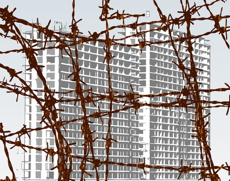 Editable vector illustration of building behind barbed wire with building and wire as separate objects Stock Vector - 1896170