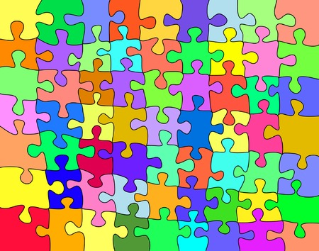 moveable: Editable vector background illustration of a colorful jigsaw with each shape a separate moveable object