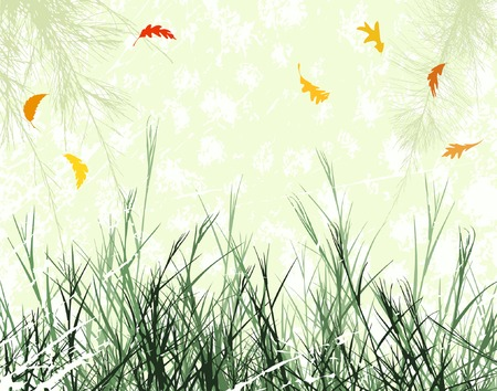 Editable vector illustration of wintry vegetation with wind-blown leaves as separate objects