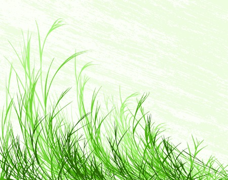 grass verge: Modificabile illustrazione vettoriale di erba lungo grunge con sfondo a livello separato