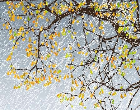 drench: Ilustraci�n vectorial editable de las sucursales en una tormenta de nieve