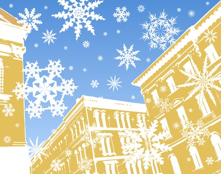 Editable vector illustration of gingerbread buildings and snowflakes Stock Vector - 2084839