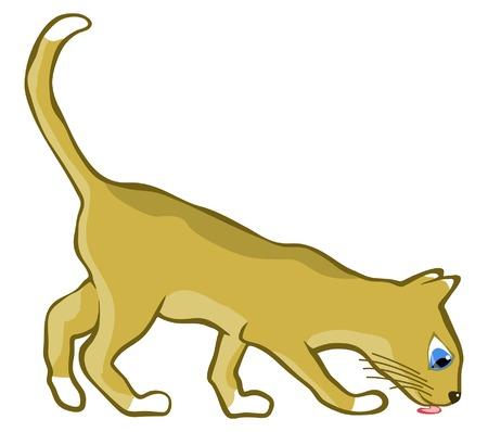 snuffelen: Bewerkbare vectorillustratie van een jonge kat likken Stock Illustratie
