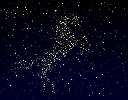 pegaso: Editable ilustraci�n vectorial de un caballo en un cielo estrellado