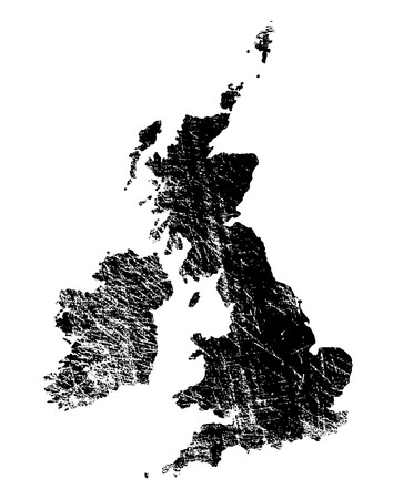 gb: Outline of Great Britain and Ireland with heavy grunge