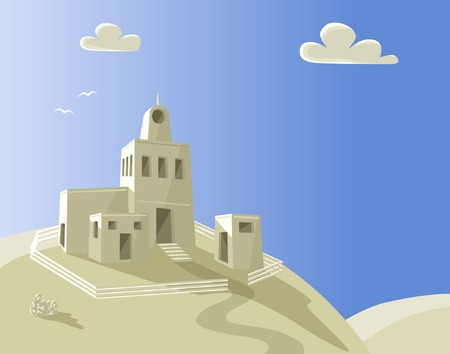 homestead: Editable vector illustration of an homestead on a hilltop