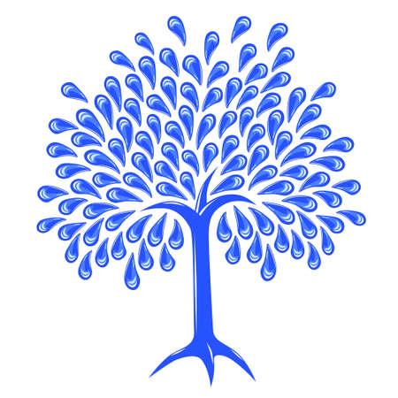 gotas de agua: Editable ilustraci�n vectorial de un �rbol con hojas raindrop  Vectores