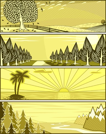 Set of editable vector banner illustrations of landscapes Stock Vector - 2339366