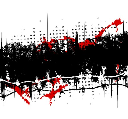 Abstract editable vector banner with grunge and barbed wire Vector