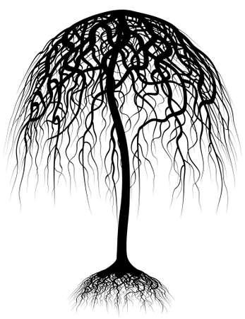 groviglio: Illustrazione vettoriale modificabile di un albero e le sue radici