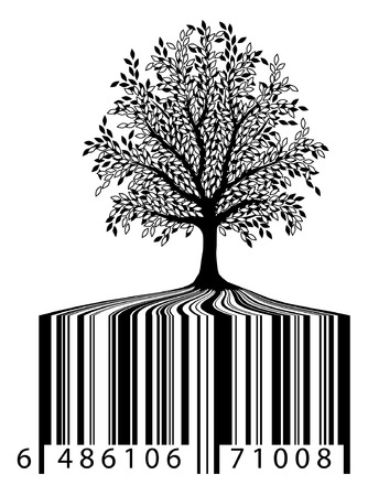 value system: Editable vector illustration of a tree with bar-code roots