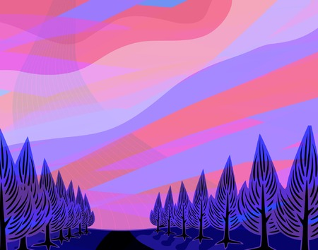 Editable vector illustration of a colorful sunset Stock Vector - 2398032