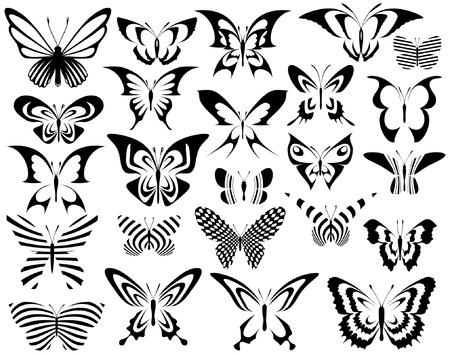 Set of editable vector generic butterfly designs Illustration