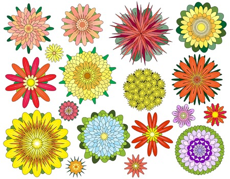 dahlia flower: Set of editable vector symmetrical flower designs