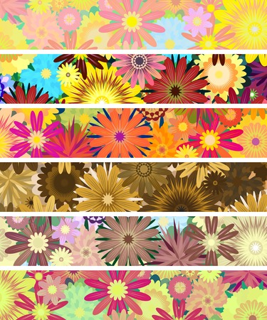 posy: Set of editable vector banners of flowers Illustration