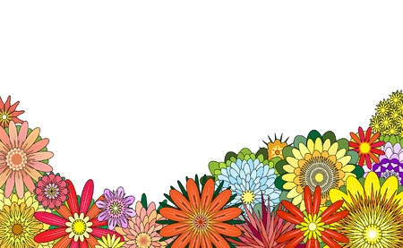 foreground: Editable vector foreground of various colorful flowers