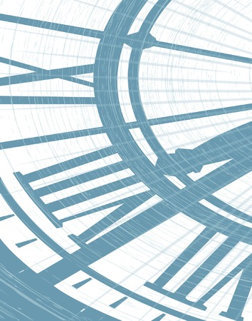 separato: Illustrazione vettoriale modificabile di un clockface con grunge come oggetto separato